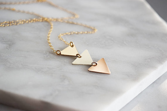Triple Triangle Necklace / Mixed Metals /