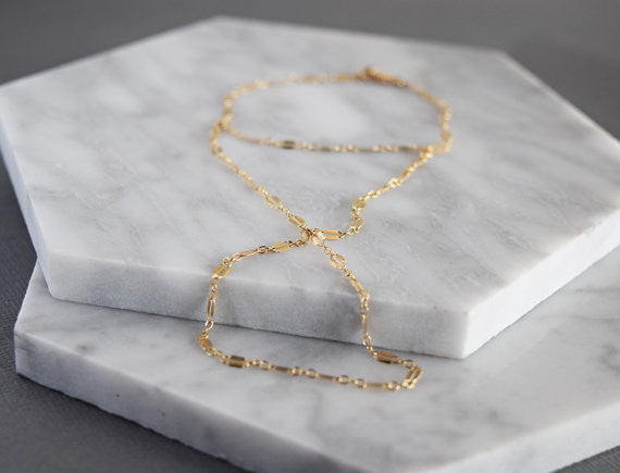 Sequin Hand Chain / Sterling Silver / 14k Gold Fill /