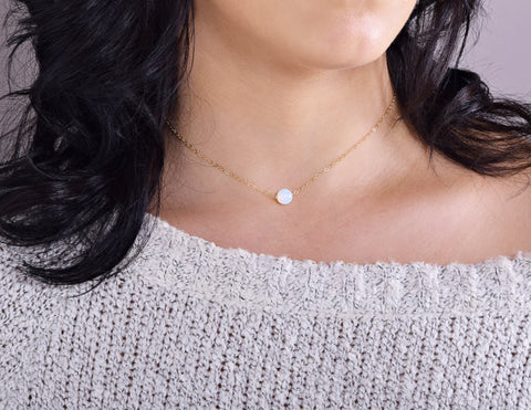 Moonstone Necklace / Opal & Silver / Opal & Gold /