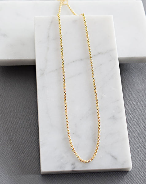 Plain Chain - Smooth Rollo Link / Sterling Silver / 14k Gold /