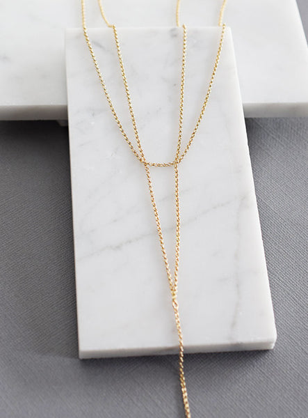 Sleek & Simple Double Layer Long Lariat / Gold / Silver /