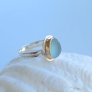 Gold Sea Glass Ring on Double Band