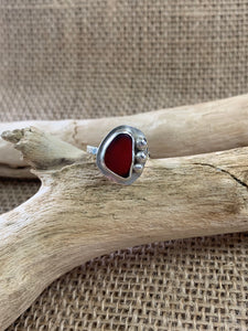 Red English Sea Glass Ring