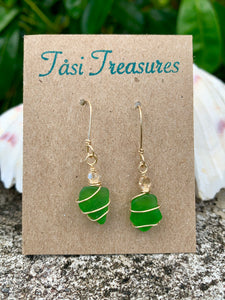 Gold Wire Wrapped Green Sea Glass Earrings