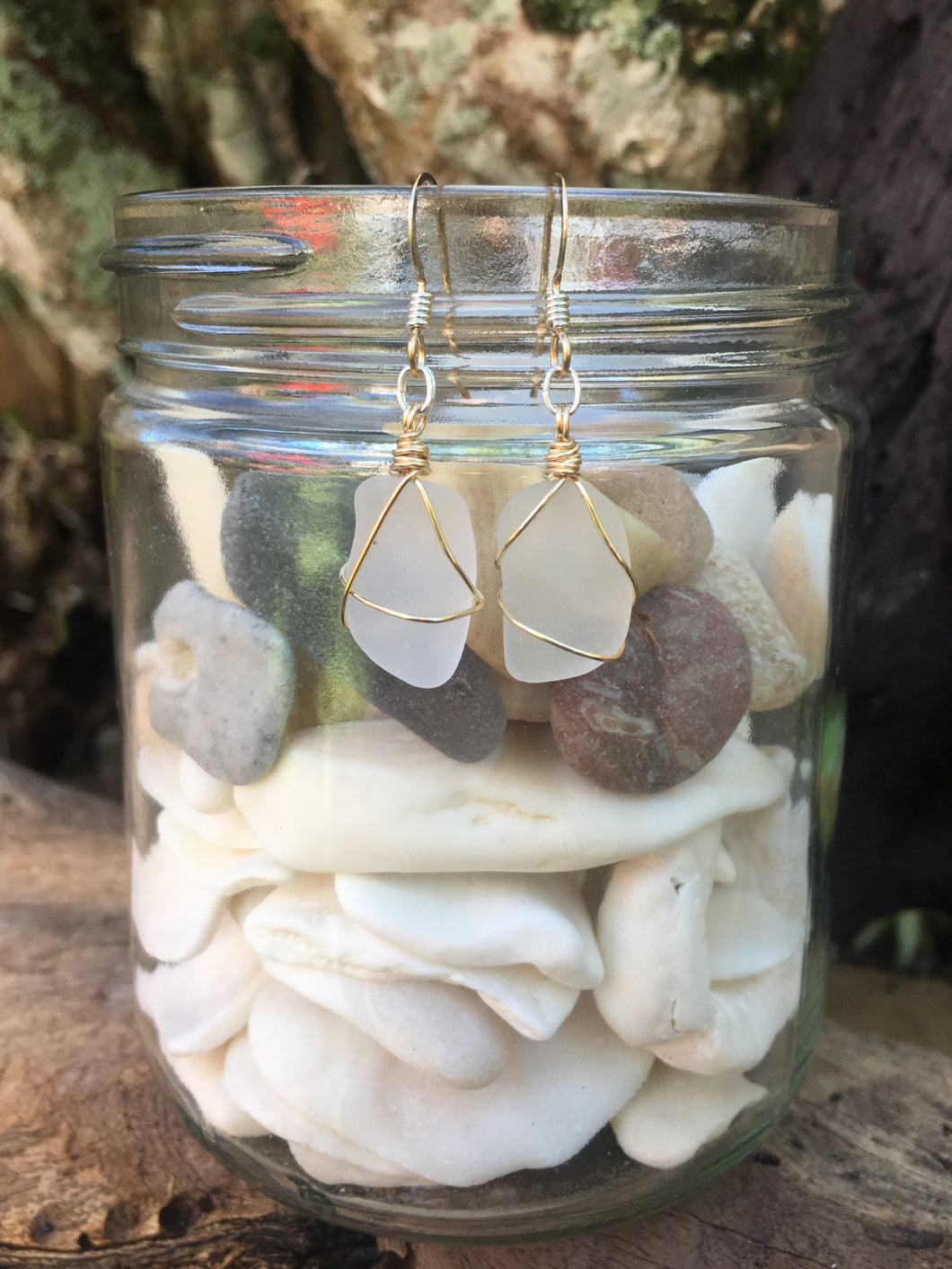 Gold Wire Wrapped Sea Glass Earrings