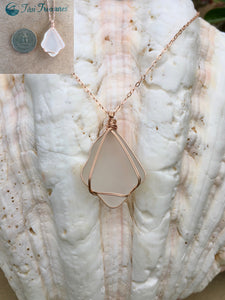 Rose Gold-filled Wire Wrapped Sea Glass Necklaces