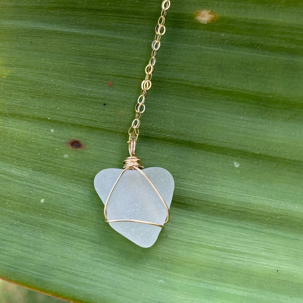 Gold Wire Wrapped White Sea Glass Necklace
