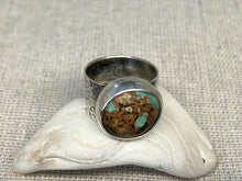 Load image into Gallery viewer, Breaker Waves Wide Band Ring with Baja Turquoise