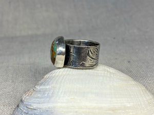 Breaker Waves Wide Band Ring with Baja Turquoise