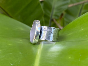 Breaker Waves Wide Band Ring with Lavender Sea Glass