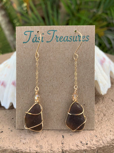 Gold-filled Wire Wrapped Dangling Earrings