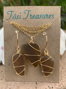 Gold-Filled Wire Wrapped Earring and Necklace Set