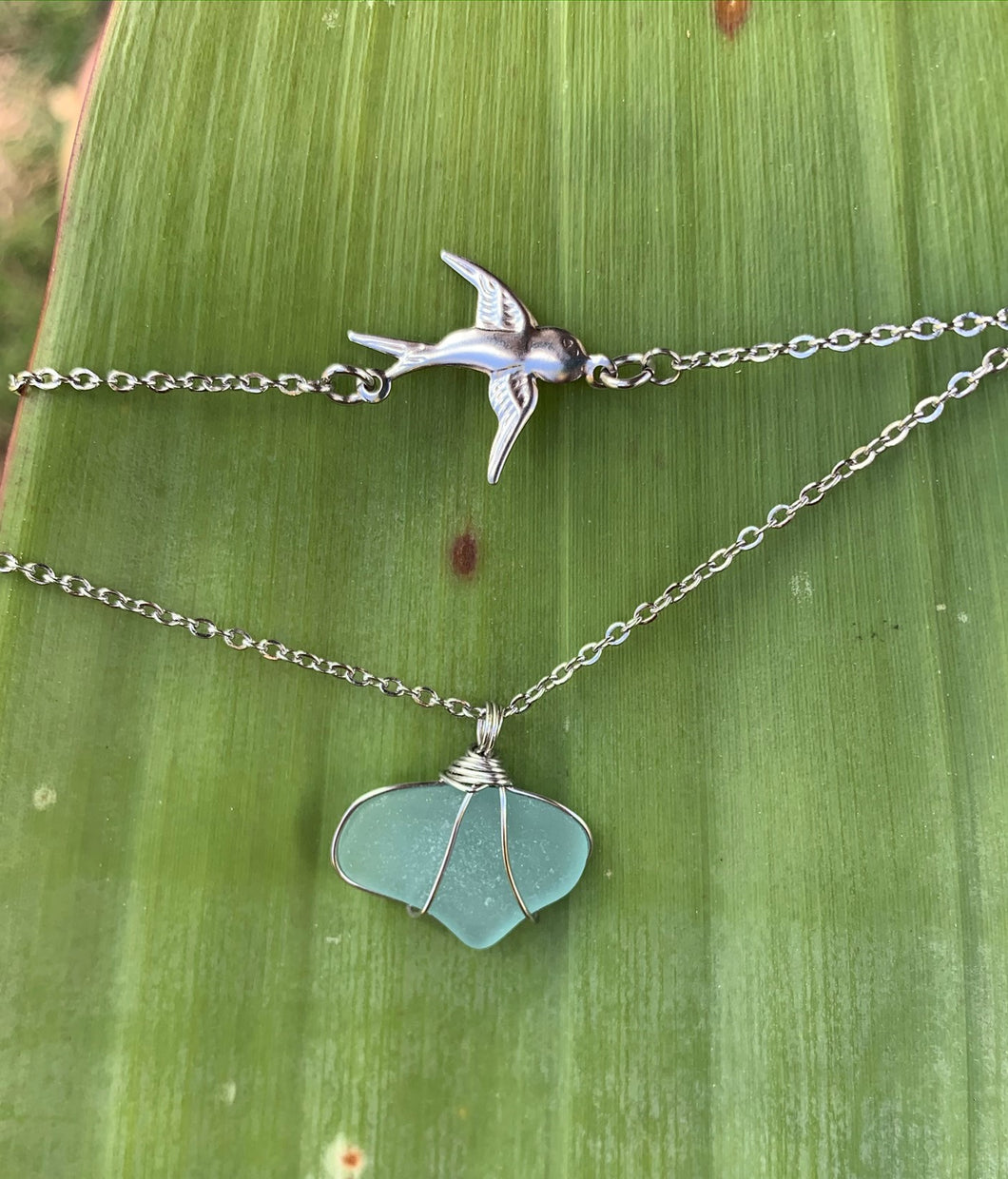 Seafoam Seaglass and Swallow Double Chain Necklace