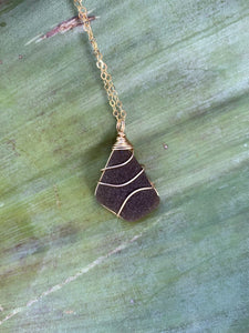 Gold Wire Wrapped Brown Sea Glass Necklaces