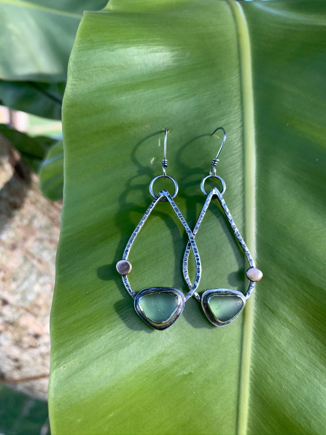 Teardrop Earrings with Sea Glass