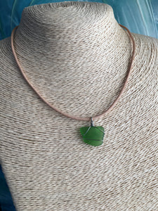 Sea glass and leather
