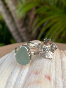 Sea Foam Sea Glass and Flower Ring