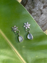 Load image into Gallery viewer, Moissanite Flower Earrings with Sea Glass