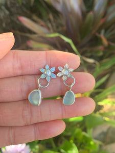 Moissanite Flower Earrings with Sea Glass