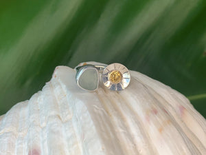 Sea Glass and Citrine Ring