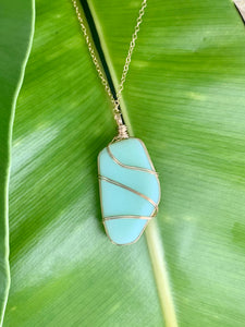 Gold-Filled Wire Wrapped Jadeite Sea Glass