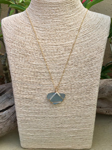 Gold Wire Wrapped Slate Blue Sea Glass Necklace