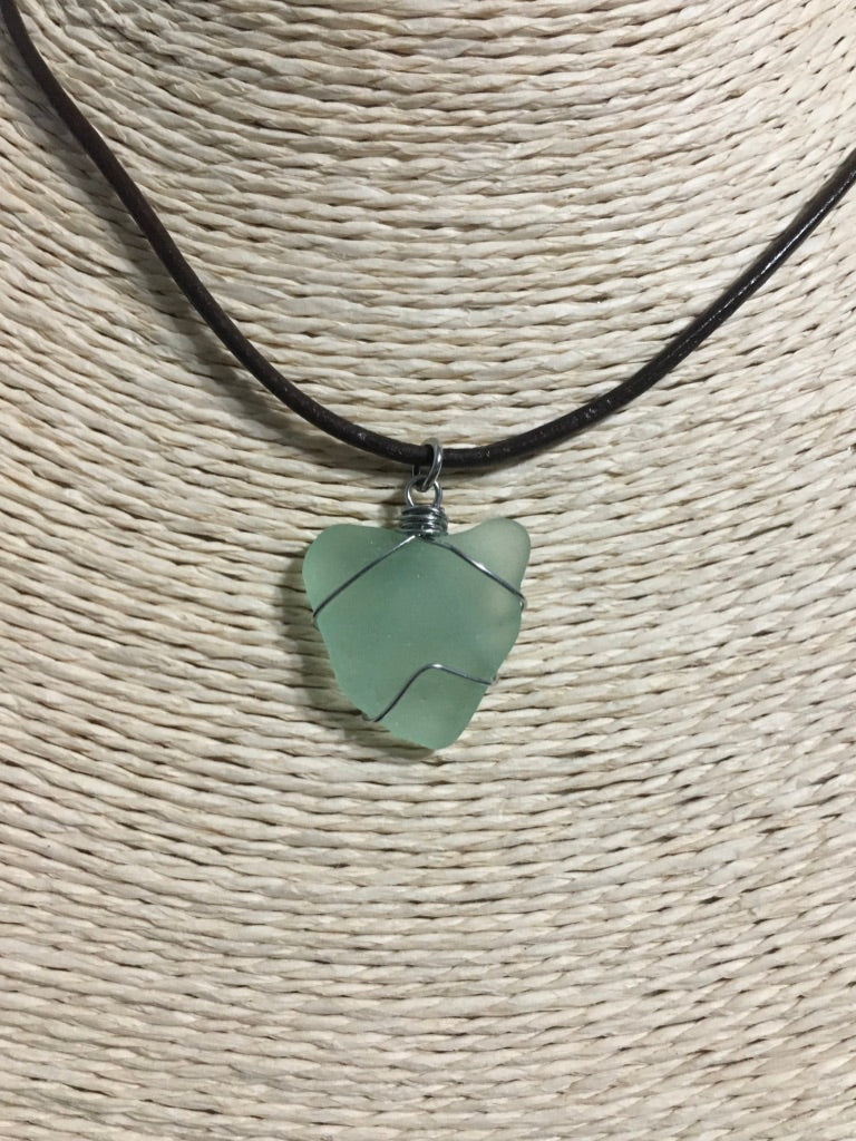 Sea glass & leather necklaces