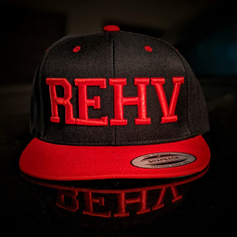 Black and Red Trucker Hat With Red REHV Embroidered