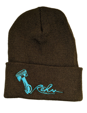 Rehv Adult Beanie Dark Green With Mint Green Design