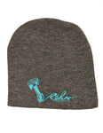 Rehv Adult Skull Cap Beanie Grey With Mint Green Design