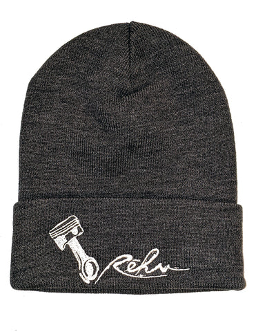 Rehv Adult Beanie Charcoal With White Design