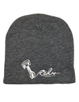 Rehv Adult Skull Cap Beanie Grey With White Design