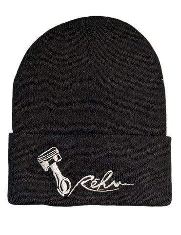 Rehv Adult Beanie Black With White Design
