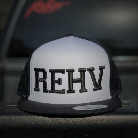 Black and White Trucker Hat With Black REHV Embroidered