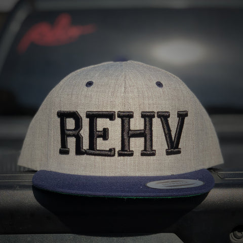 Heather Grey and Navy Snapback Hat With Black REHV Embroidered