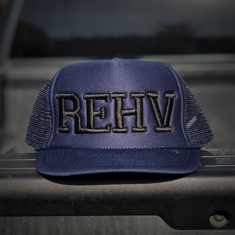 Navy Blue Trucker Hat With Black REHV Embroidered