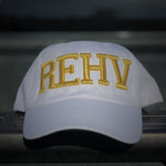 White Rehv Dad Cap With Gold REHV Embroidered