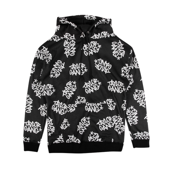 All Over Team Logo Hoodie Black
