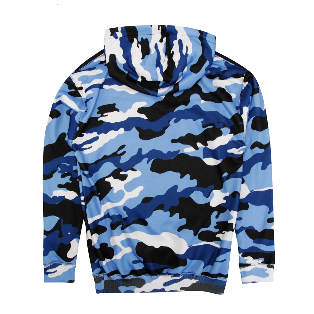 Core Logo Flocked Blue Camo Pullover