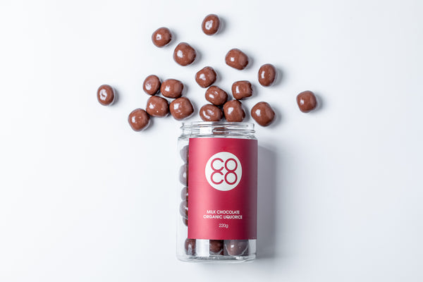 Milk Chocolate coated Organic Liquorice