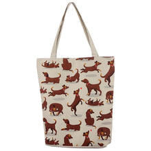 Load image into Gallery viewer, Handy Cotton Zip Up Shopping Bag - Catch Patch Dog Design