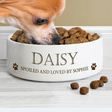 Load image into Gallery viewer, Personalised Paws 14cm Medium White Pet Bowl