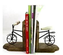 Load image into Gallery viewer, Pair of wooden and metal bookends.