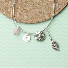Load image into Gallery viewer, PERSONALISED FORGET ME NOT FRIENDSHIP BRACELET WITH ROSE QUARTZ STONES