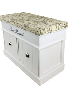 White Seat Bench With 2 Drawers & Lid 70cm