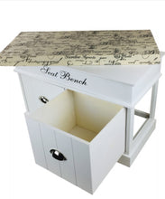 Load image into Gallery viewer, White Seat Bench With 2 Drawers & Lid 70cm