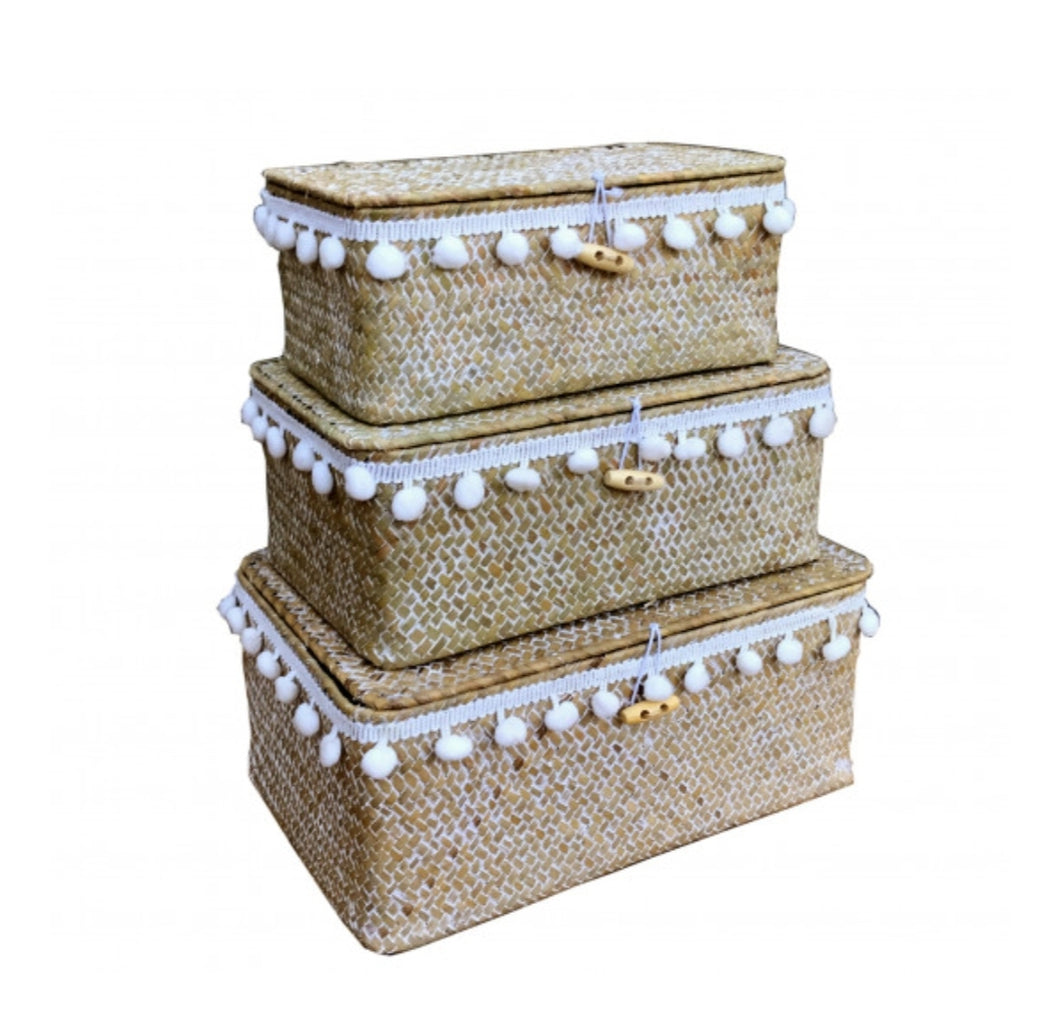 Set Of Three Nesting Pom Pom Baskets (Limited Stock)