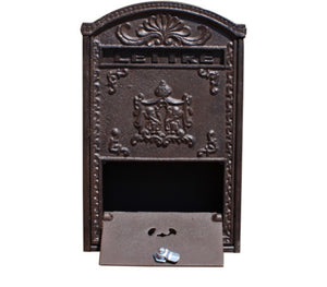 Vintage Style Cast Iron & Wooden Wall Mounted Letter Post Box
