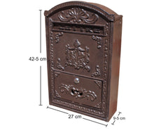 Load image into Gallery viewer, Vintage Style Cast Iron & Wooden Wall Mounted Letter Post Box