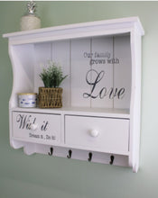 Load image into Gallery viewer, Wall Unit in White with Hooks, Drawers & Shelf